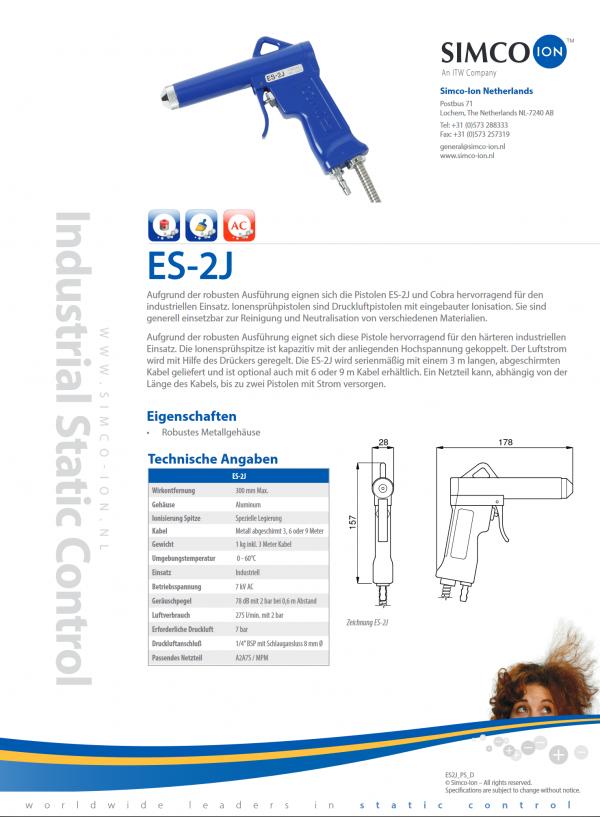 Es2J Simco Ion Elektrostatische Aufladung Kunststoff verhindern Datenblatt